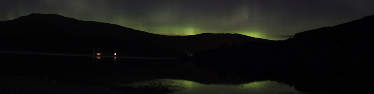 Aurora Borealis from Strontion over Loch Sunart Ardnamurchan Scotland