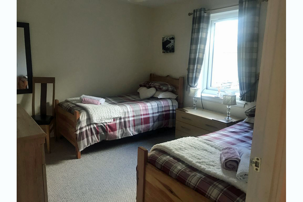 Twin bedroom at Bramble Cottage Strontian Ardnamurchan Scotland